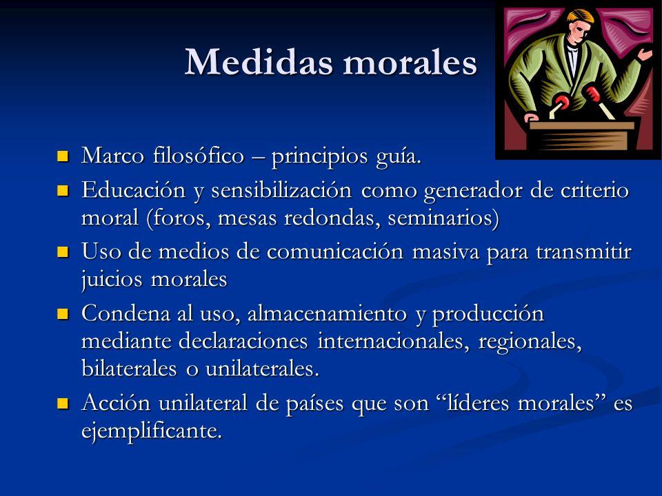 Medidas morales Marco filosófico – principios guía. Marco filosófico – principios guía. Educación y sensibilización como generador de criterio moral (