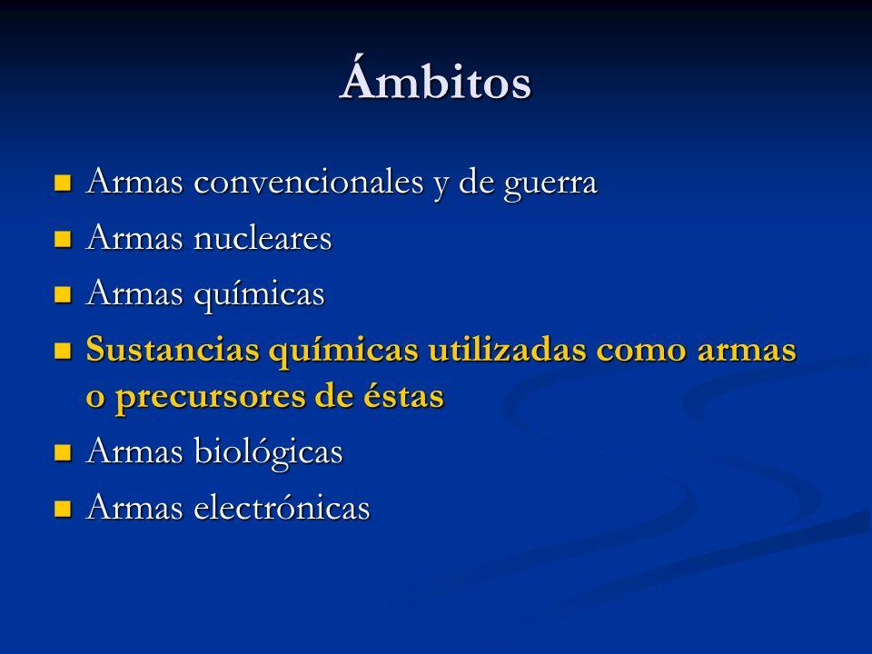 Ámbitos Armas convencionales y de guerra Armas convencionales y de guerra Armas nucleares Armas nucleares Armas químicas Armas químicas Sustancias quí