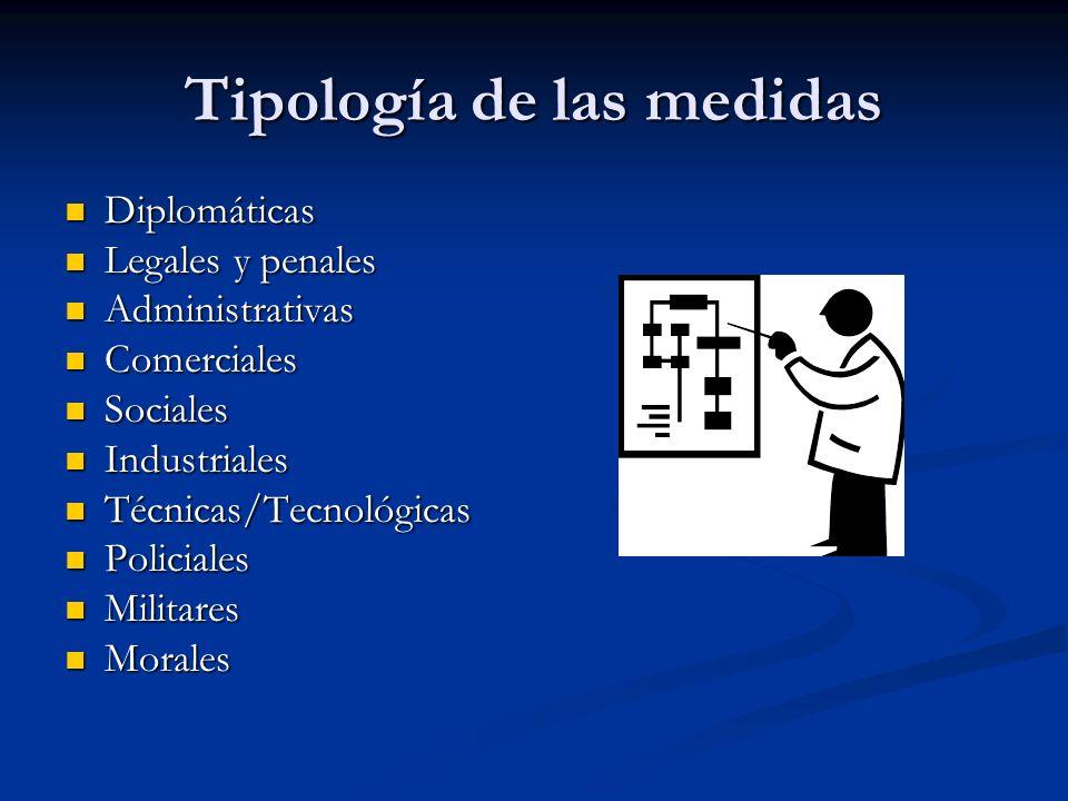 Tipología de las medidas Diplomáticas Diplomáticas Legales y penales Legales y penales Administrativas Administrativas Comerciales Comerciales Sociale