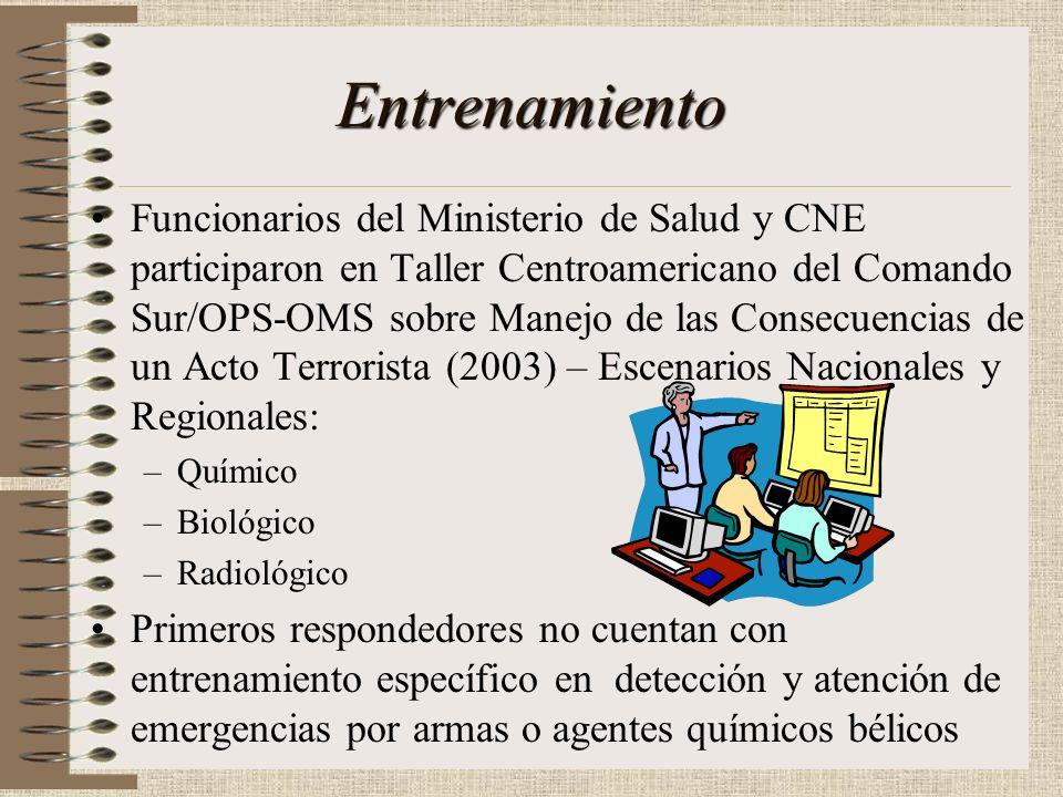 Entrenamiento Personal en CNE, Ministerio de Salud, -Bomberos y Cruz Roja cuentan con entrenamiento básico en emergencias químicas. – Ministerio de Sa