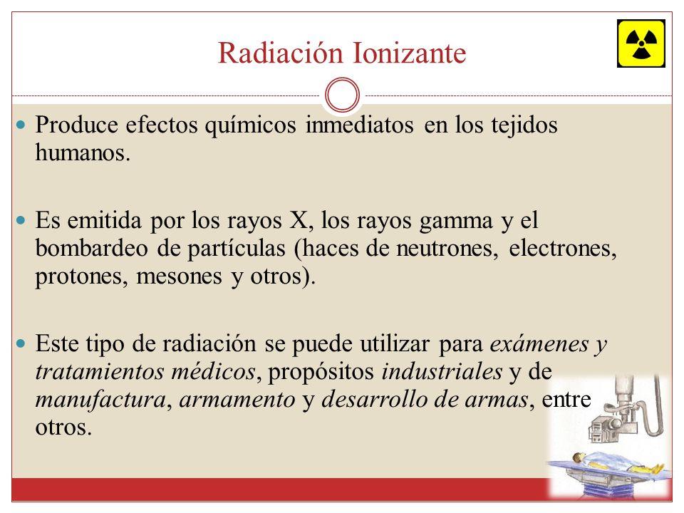 Radiación Ionizante Produce efectos químicos inmediatos en los tejidos humanos. Es emitida por los rayos X, los rayos gamma y el bombardeo de partícul