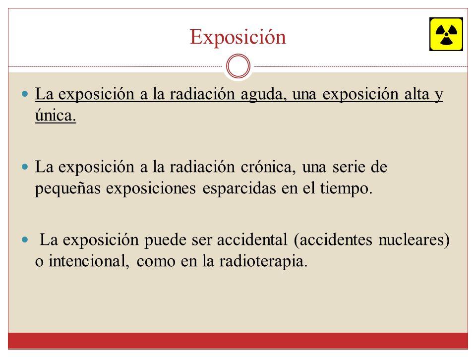 Exposición La exposición a la radiación aguda, una exposición alta y única. La exposición a la radiación crónica, una serie de pequeñas exposiciones e