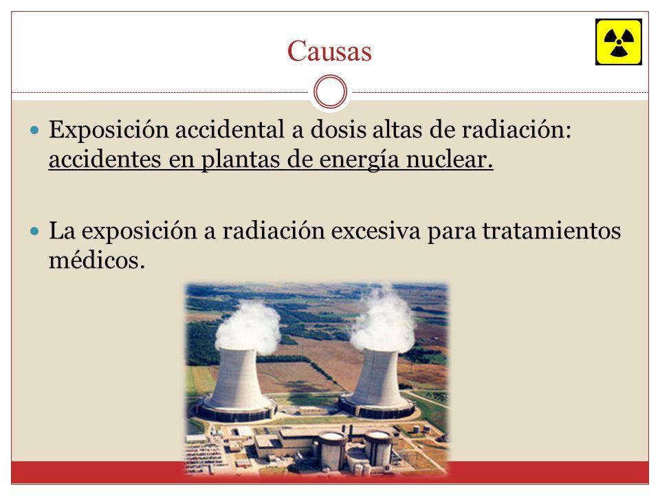 Causas Exposición accidental a dosis altas de radiación: accidentes en plantas de energía nuclear. La exposición a radiación excesiva para tratamiento