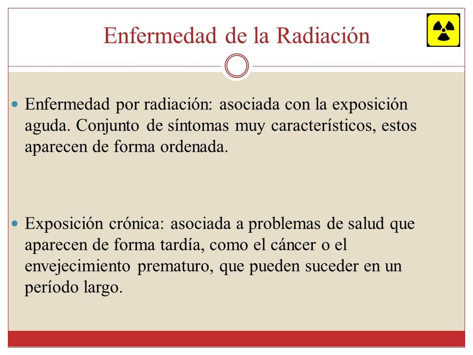 Enfermedad de la Radiación Enfermedad por radiación: asociada con la exposición aguda. Conjunto de síntomas muy característicos, estos aparecen de for