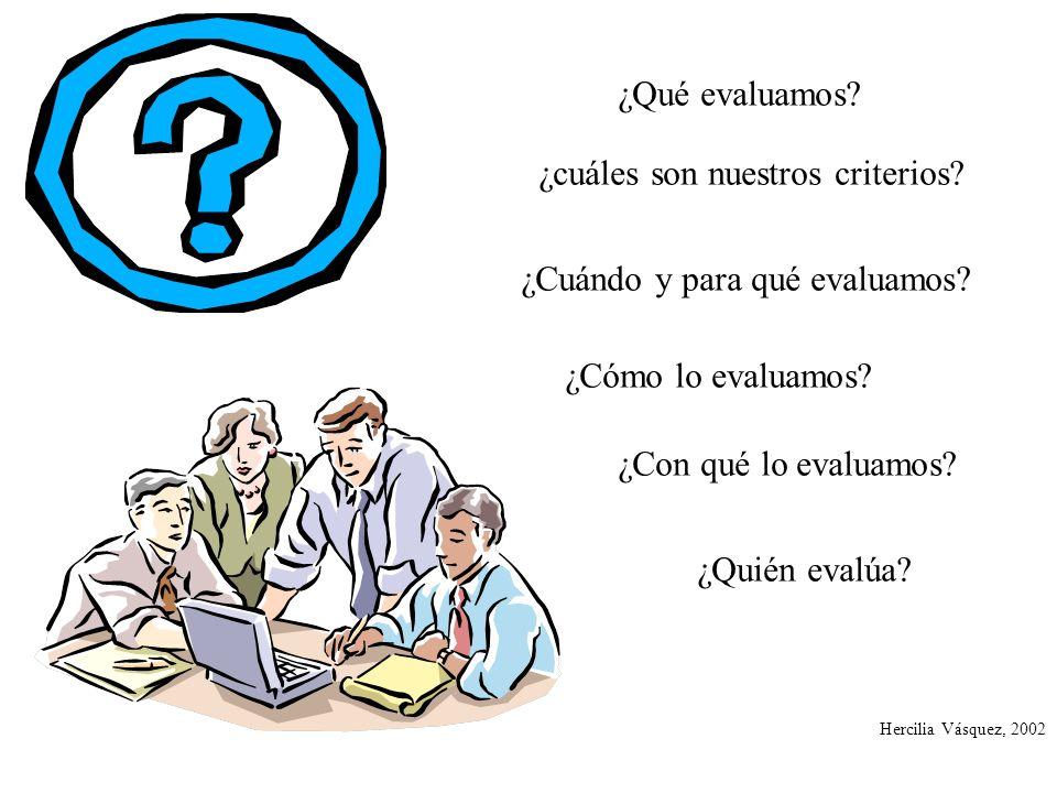 ¿Qué evaluamos? ¿Cómo lo evaluamos? ¿cuáles son nuestros criterios? ¿Con qué lo evaluamos? ¿Cuándo y para qué evaluamos? Hercilia Vásquez, 2002 ¿Quién