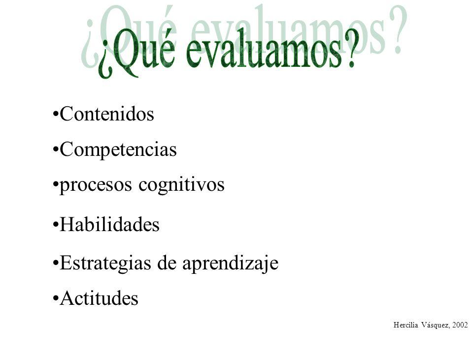 Contenidos Competencias procesos cognitivos Habilidades Estrategias de aprendizaje Actitudes Hercilia Vásquez, 2002