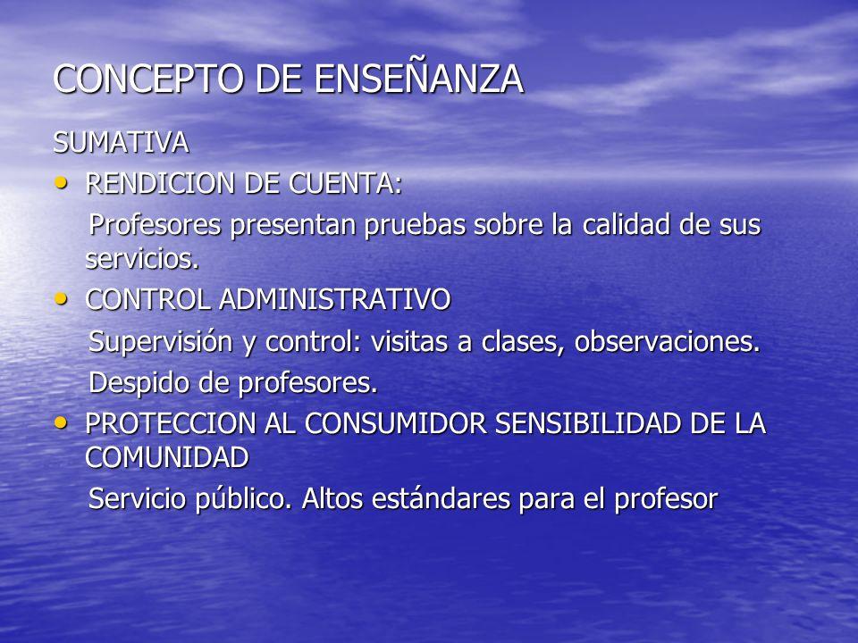 CONCEPTO DE ENSEÑANZA SUMATIVA RENDICION DE CUENTA: RENDICION DE CUENTA: Profesores presentan pruebas sobre la calidad de sus servicios. Profesores pr