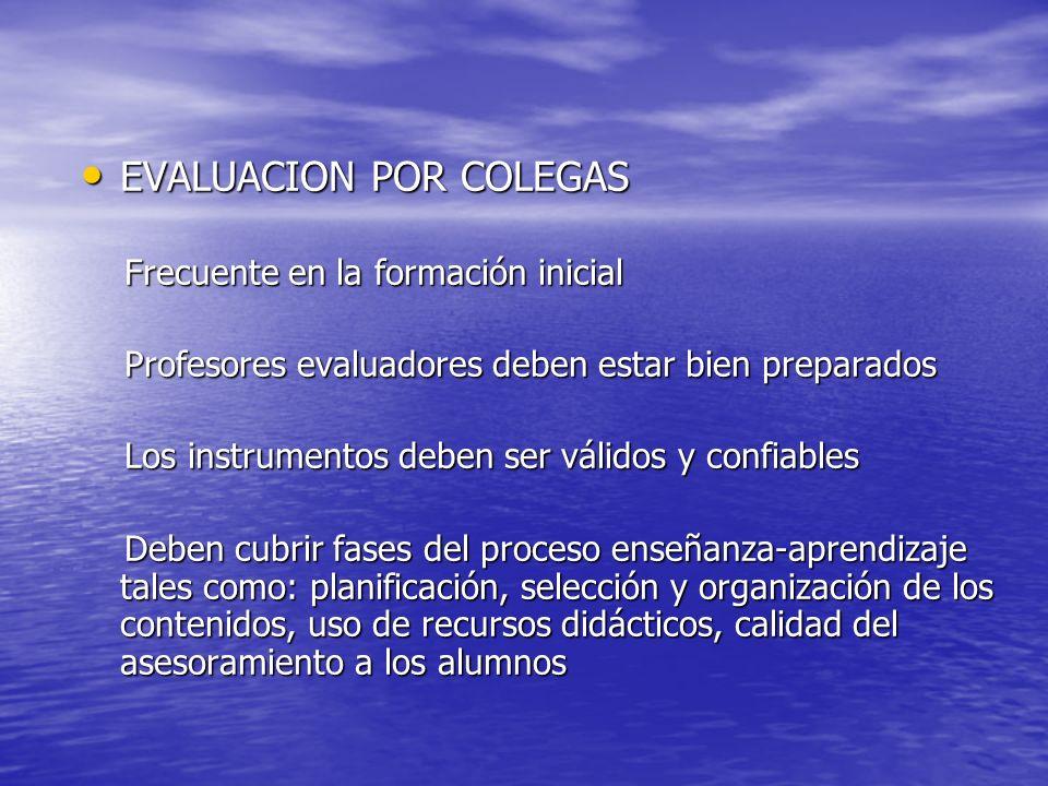 EVALUACION POR COLEGAS EVALUACION POR COLEGAS Frecuente en la formación inicial Frecuente en la formación inicial Profesores evaluadores deben estar b