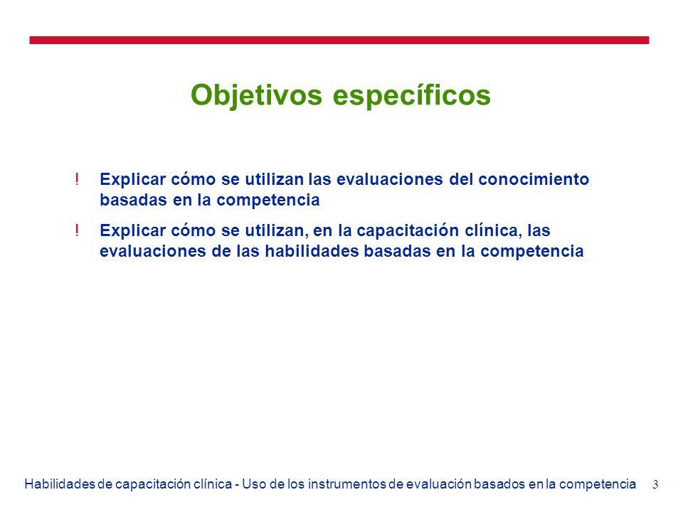 3Habilidades de capacitación clínica - Uso de los instrumentos de evaluación basados en la competencia Objetivos específicos !Explicar cómo se utiliza