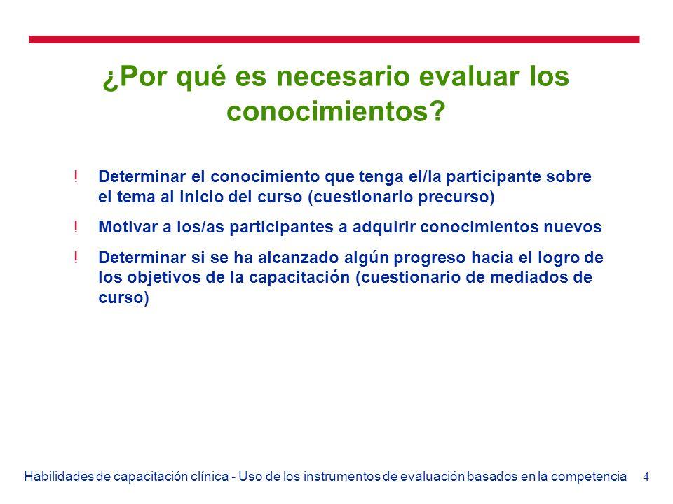4Habilidades de capacitación clínica - Uso de los instrumentos de evaluación basados en la competencia ¿Por qué es necesario evaluar los conocimientos