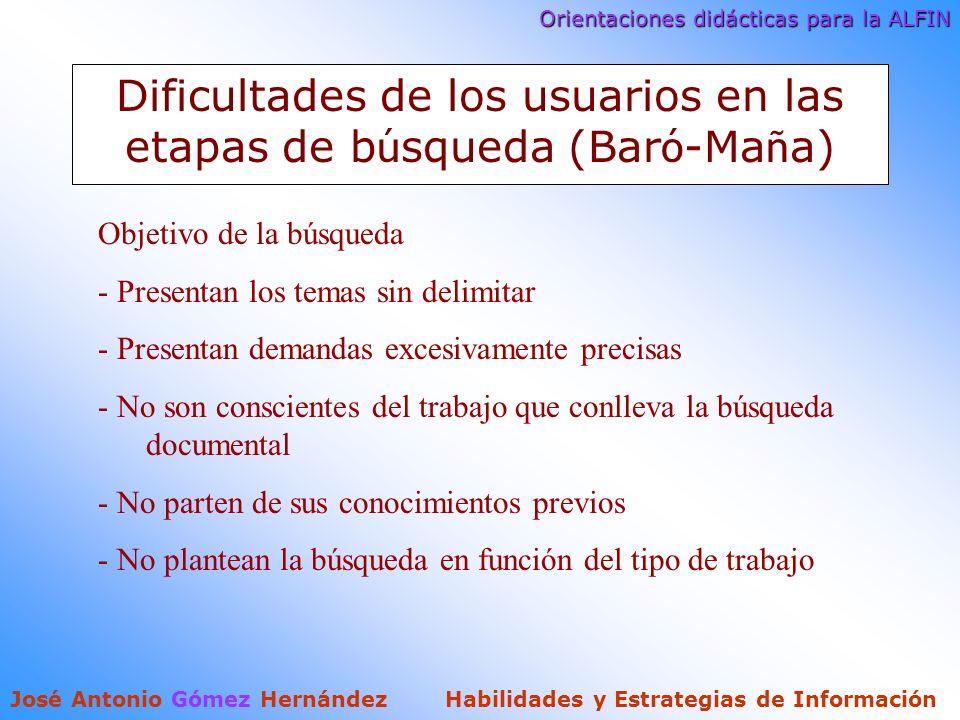 Orientaciones didácticas para la ALFIN José Antonio Gómez Hernández Habilidades y Estrategias de Información Dificultades de los usuarios en las etapas de b ú squeda (Bar ó -Ma ñ a) Objetivo de la búsqueda - Presentan los temas sin delimitar - Presentan demandas excesivamente precisas - No son conscientes del trabajo que conlleva la búsqueda documental - No parten de sus conocimientos previos - No plantean la búsqueda en función del tipo de trabajo