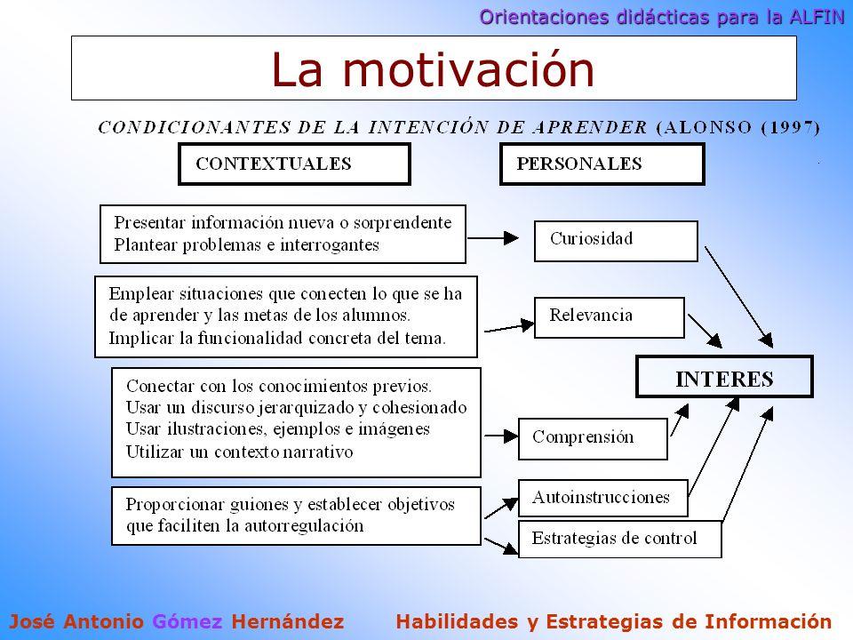 Orientaciones didácticas para la ALFIN José Antonio Gómez Hernández Habilidades y Estrategias de Información La motivaci ó n