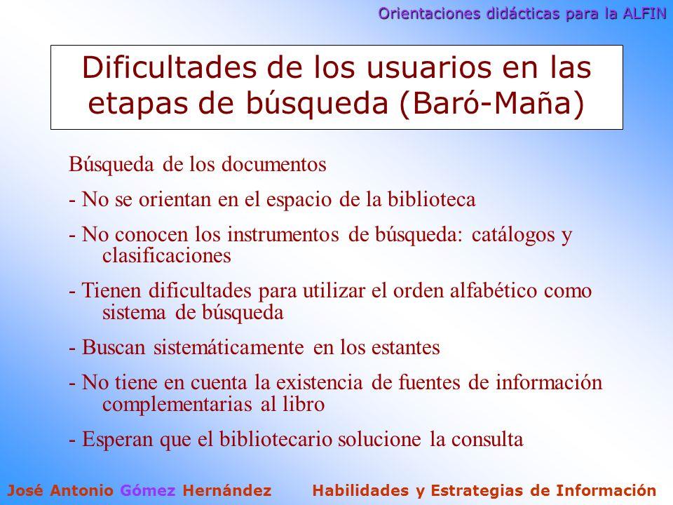 Orientaciones didácticas para la ALFIN José Antonio Gómez Hernández Habilidades y Estrategias de Información Dificultades de los usuarios en las etapas de b ú squeda (Bar ó -Ma ñ a) Búsqueda de los documentos - No se orientan en el espacio de la biblioteca - No conocen los instrumentos de búsqueda: catálogos y clasificaciones - Tienen dificultades para utilizar el orden alfabético como sistema de búsqueda - Buscan sistemáticamente en los estantes - No tiene en cuenta la existencia de fuentes de información complementarias al libro - Esperan que el bibliotecario solucione la consulta
