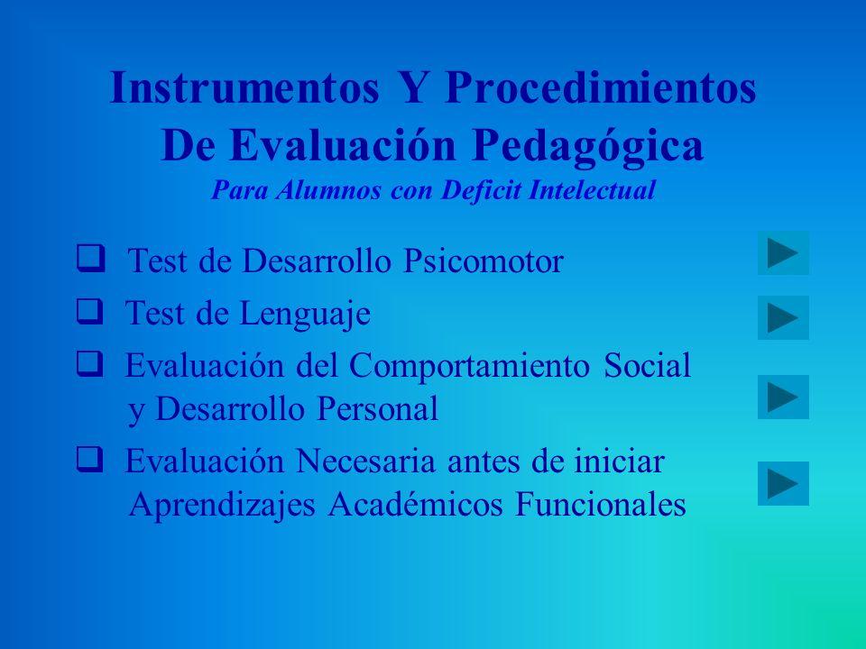 Instrumentos Y Procedimientos De Evaluación Pedagógica Para Alumnos con Deficit Intelectual Test de Desarrollo Psicomotor Test de Lenguaje Evaluación