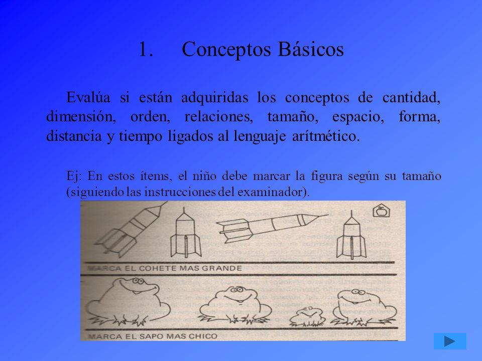 1.Conceptos Básicos Evalúa si están adquiridas los conceptos de cantidad, dimensión, orden, relaciones, tamaño, espacio, forma, distancia y tiempo lig