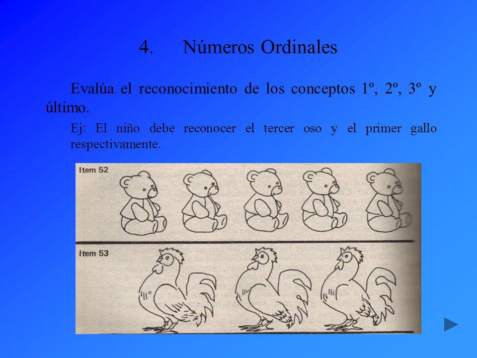 4.Números Ordinales Evalúa el reconocimiento de los conceptos 1º, 2º, 3º y último. Ej: El niño debe reconocer el tercer oso y el primer gallo respecti