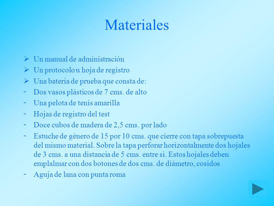 Materiales Un manual de administración Un protocolo u hoja de registro Una bateria de prueba que consta de:  Dos vasos plásticos de 7 cms. de alto 