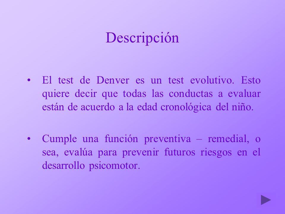 Descripción El test de Denver es un test evolutivo. Esto quiere decir que todas las conductas a evaluar están de acuerdo a la edad cronológica del niñ