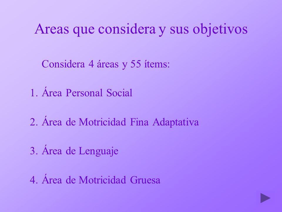 Areas que considera y sus objetivos Considera 4 áreas y 55 ítems: 1.Área Personal Social 2.Área de Motricidad Fina Adaptativa 3.Área de Lenguaje 4.Áre