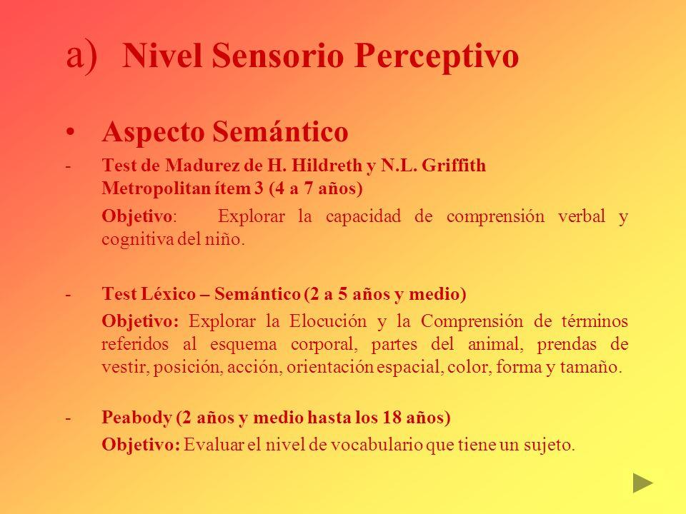 a) Nivel Sensorio Perceptivo Aspecto Semántico Test de Madurez de H. Hildreth y N.L. Griffith Metropolitan ítem 3 (4 a 7 años) Objetivo: Explorar la