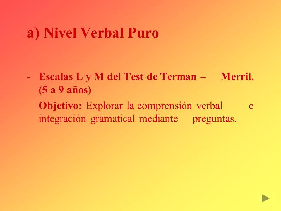 a) Nivel Verbal Puro Escalas L y M del Test de Terman – Merril. (5 a 9 años) Objetivo: Explorar la comprensión verbal e integración gramatical median