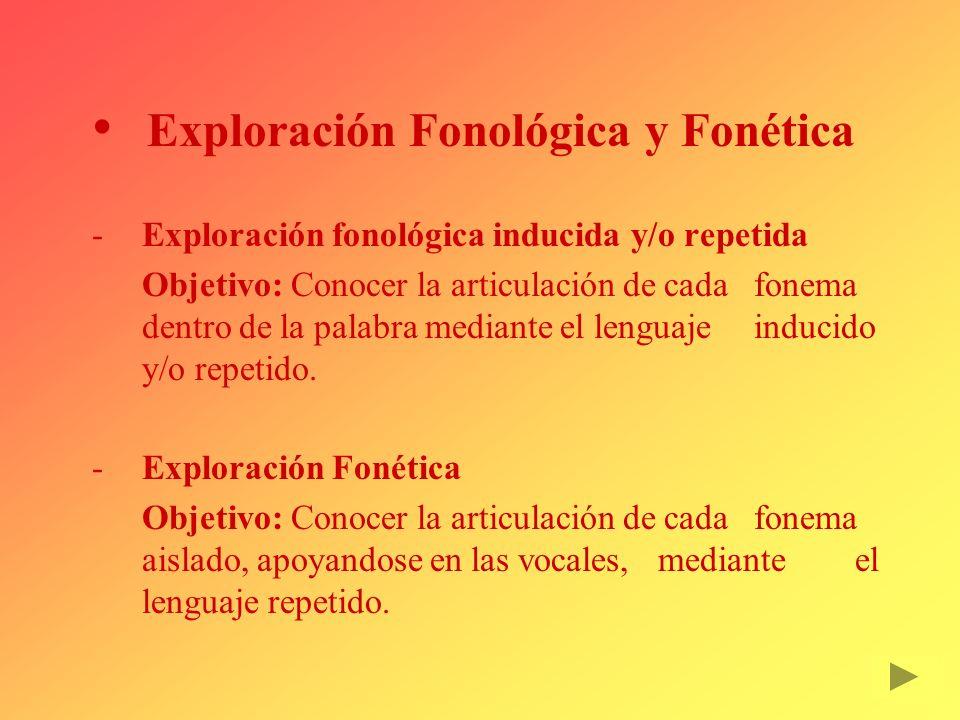Exploración Fonológica y Fonética Exploración fonológica inducida y/o repetida Objetivo: Conocer la articulación de cada fonema dentro de la palabra