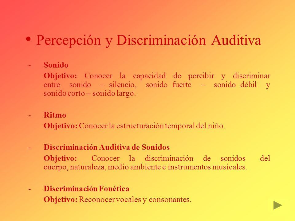 Percepción y Discriminación Auditiva Sonido Objetivo: Conocer la capacidad de percibir y discriminar entre sonido – silencio, sonido fuerte – sonido