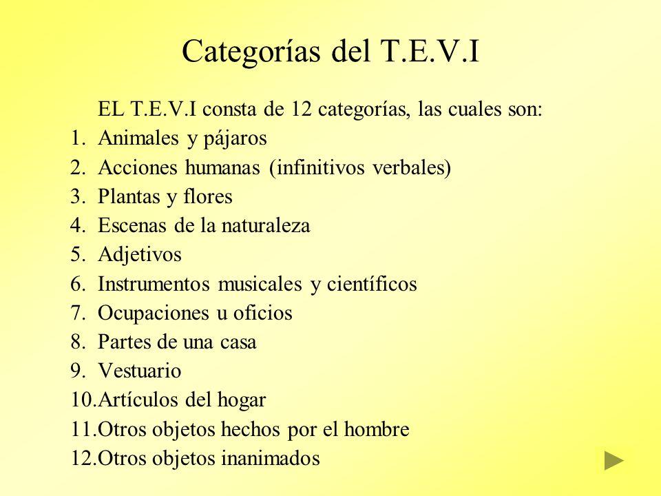 Categorías del T.E.V.I EL T.E.V.I consta de 12 categorías, las cuales son: 1.Animales y pájaros 2.Acciones humanas (infinitivos verbales) 3.Plantas y