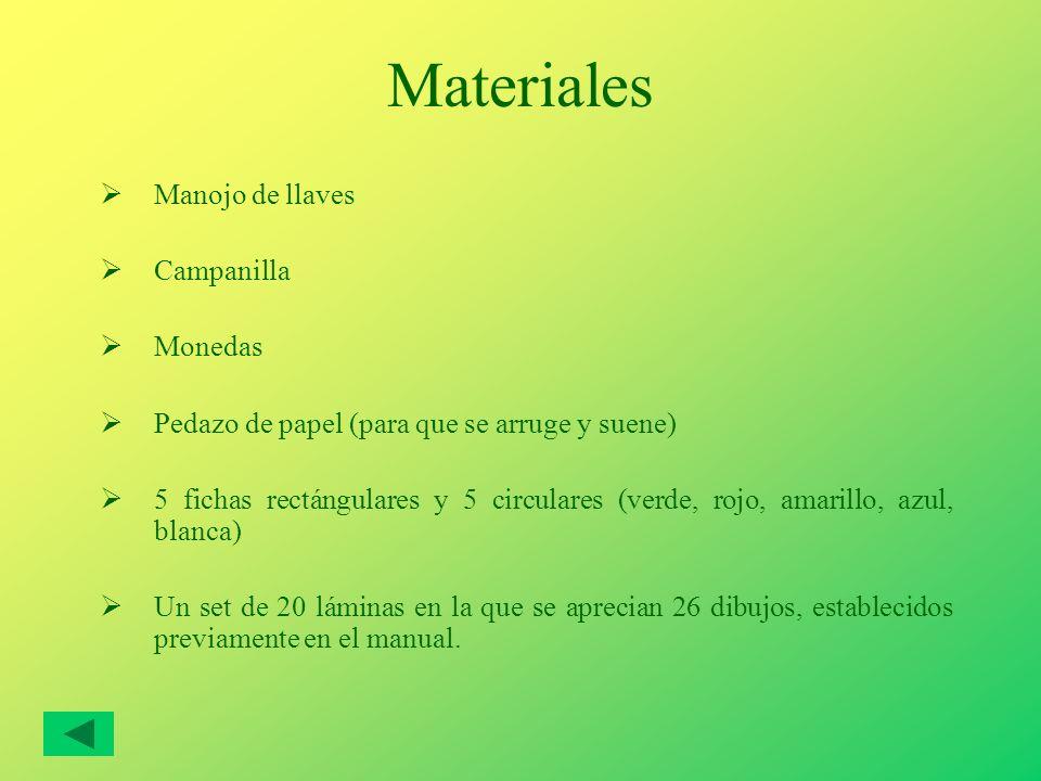 Materiales Manojo de llaves Campanilla Monedas Pedazo de papel (para que se arruge y suene) 5 fichas rectángulares y 5 circulares (verde, rojo, amaril