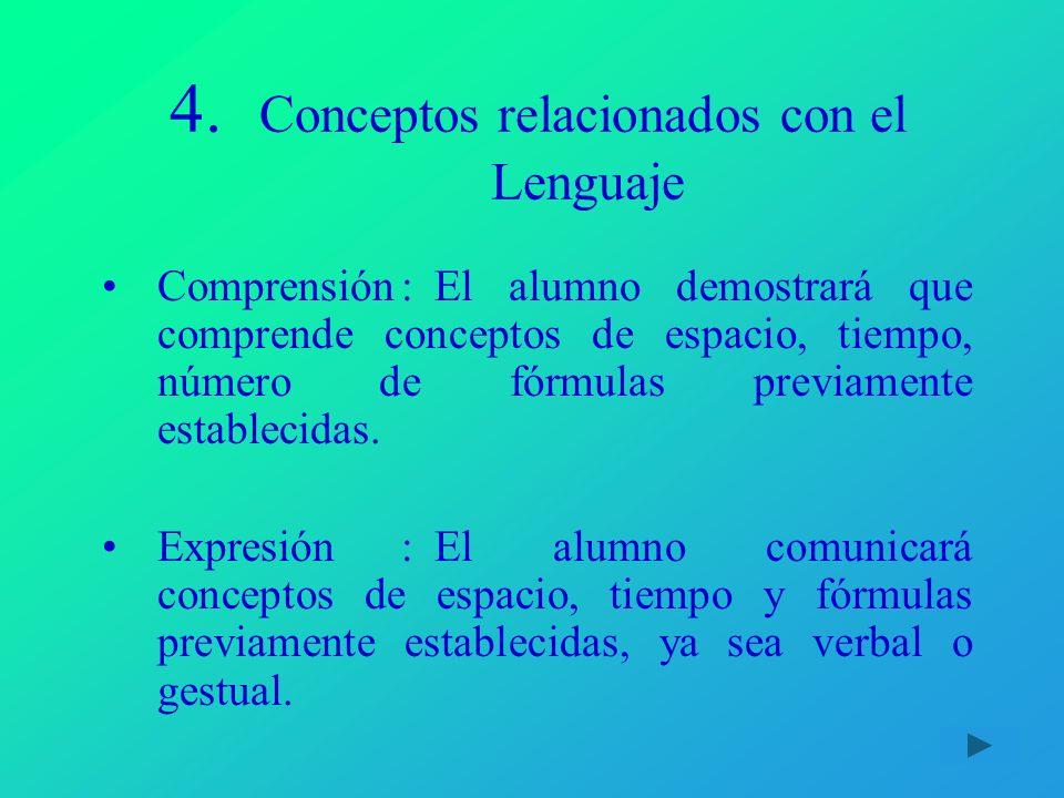 4. Conceptos relacionados con el Lenguaje Comprensión:El alumno demostrará que comprende conceptos de espacio, tiempo, número de fórmulas previamente