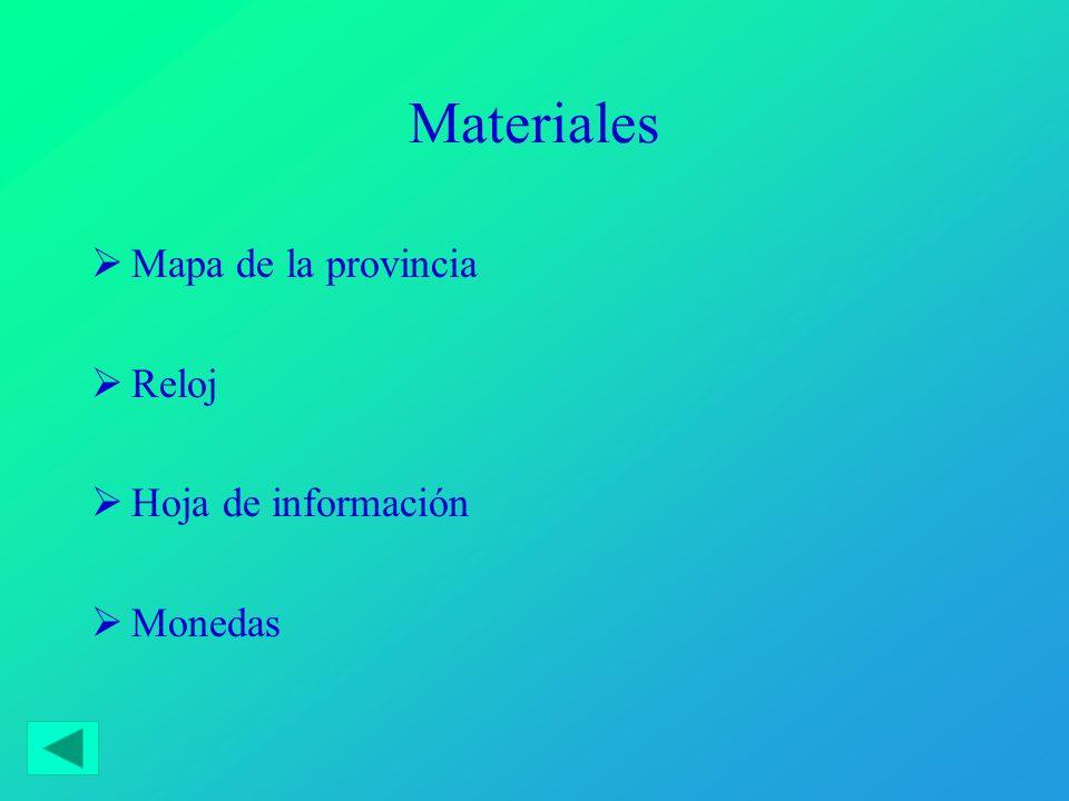Materiales Mapa de la provincia Reloj Hoja de información Monedas