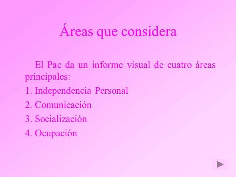 Áreas que considera El Pac da un informe visual de cuatro áreas principales: 1.Independencia Personal 2.Comunicación 3.Socialización 4.Ocupación