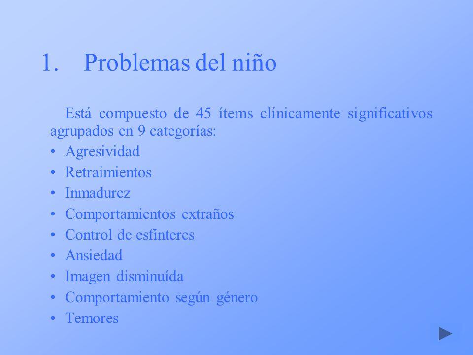 1.Problemas del niño Está compuesto de 45 ítems clínicamente significativos agrupados en 9 categorías: Agresividad Retraimientos Inmadurez Comportamie