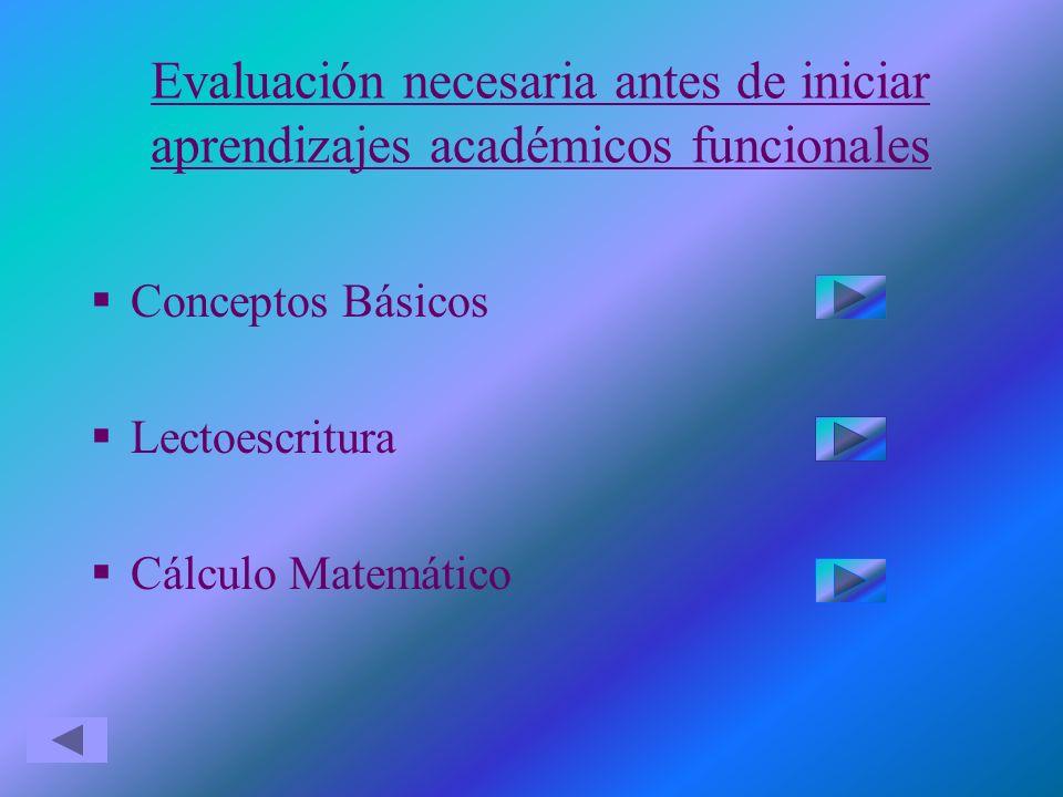 Evaluación necesaria antes de iniciar aprendizajes académicos funcionales Conceptos Básicos Lectoescritura Cálculo Matemático