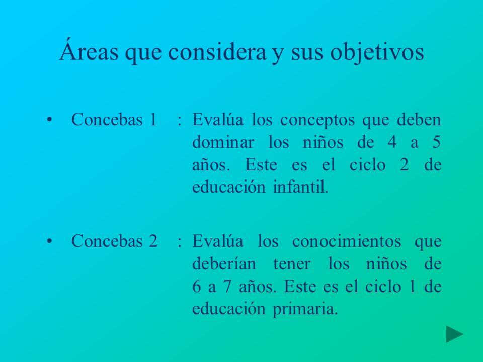 Áreas que considera y sus objetivos Concebas 1:Evalúa los conceptos que deben dominar los niños de 4 a 5 años. Este es el ciclo 2 de educación infanti