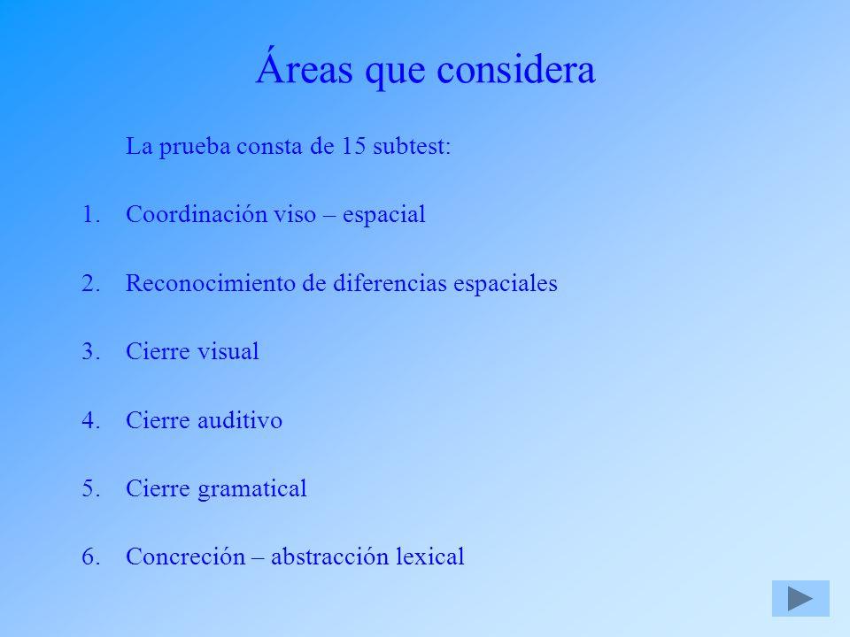 Áreas que considera La prueba consta de 15 subtest: 1.Coordinación viso – espacial 2.Reconocimiento de diferencias espaciales 3.Cierre visual 4.Cierre