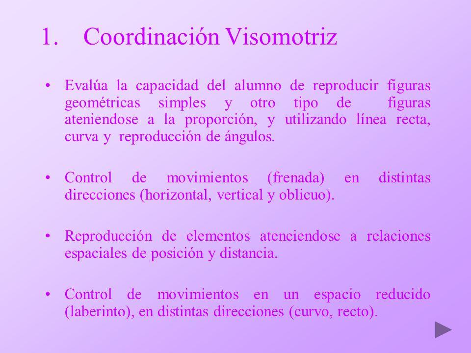 1.Coordinación Visomotriz Evalúa la capacidad del alumno de reproducir figuras geométricas simples y otro tipo de figuras ateniendose a la proporción,