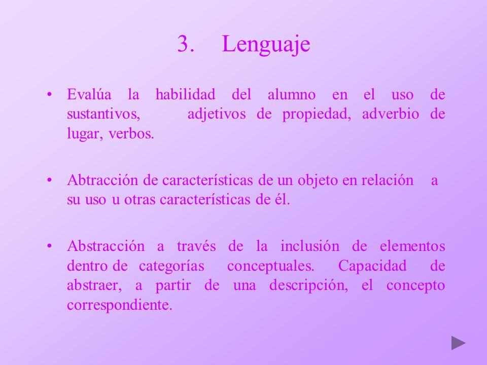 3.Lenguaje Evalúa la habilidad del alumno en el uso de sustantivos, adjetivos de propiedad, adverbio de lugar, verbos. Abtracción de características d