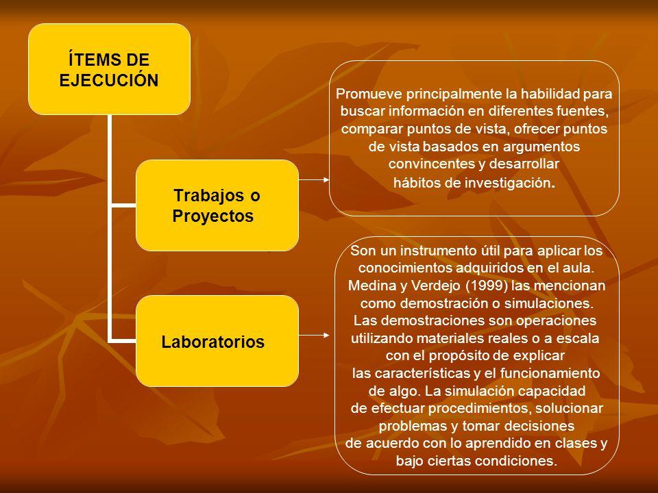 ÍTEMS DE EJECUCIÓN Trabajos o Proyectos Laboratorios Son un instrumento útil para aplicar los conocimientos adquiridos en el aula. Medina y Verdejo (1