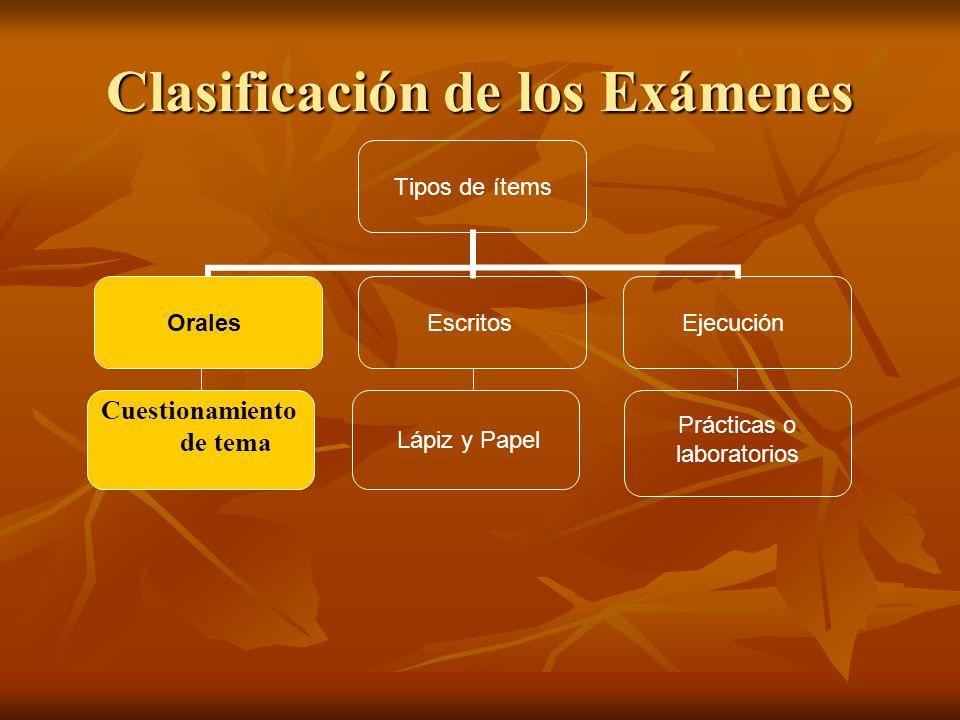 Clasificación de los Exámenes Tipos de ítems OralesEscritosEjecución Cuestionamiento de tema Lápiz y Papel Prácticas o laboratorios