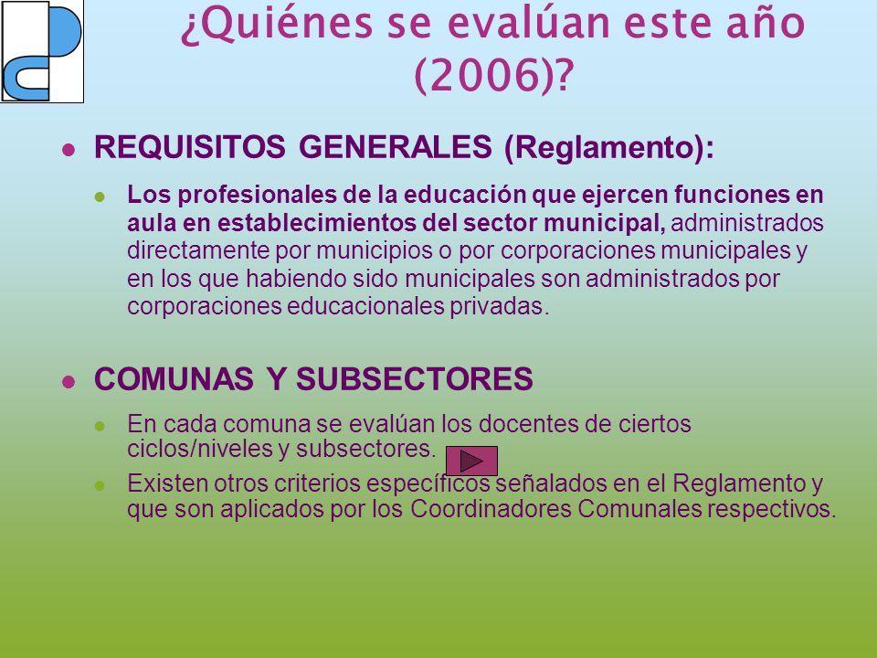 ¿Quiénes se evalúan este año (2006)? REQUISITOS GENERALES (Reglamento): Los profesionales de la educación que ejercen funciones en aula en establecimi