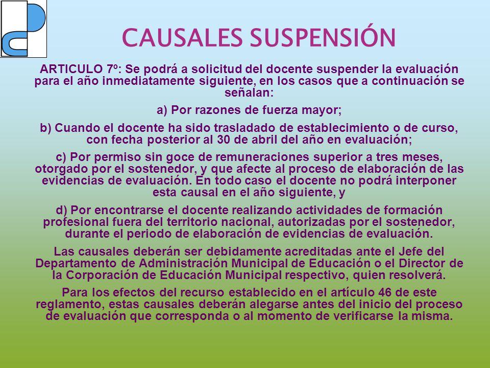 CAUSALES SUSPENSIÓN ARTICULO 7º: Se podrá a solicitud del docente suspender la evaluación para el año inmediatamente siguiente, en los casos que a con