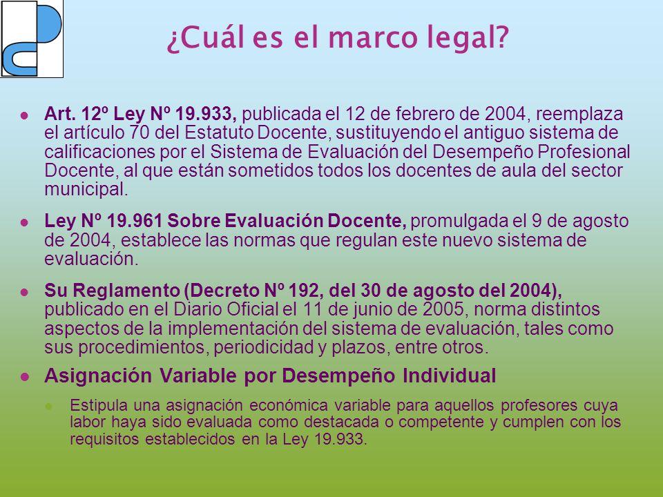 ¿Cuál es el marco legal? Art. 12º Ley Nº 19.933, publicada el 12 de febrero de 2004, reemplaza el artículo 70 del Estatuto Docente, sustituyendo el an