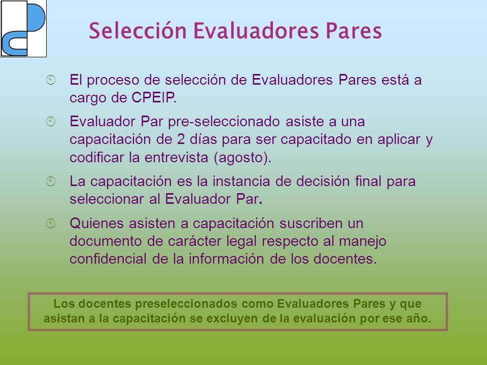 Selección Evaluadores Pares El proceso de selección de Evaluadores Pares está a cargo de CPEIP. Evaluador Par pre-seleccionado asiste a una capacitaci