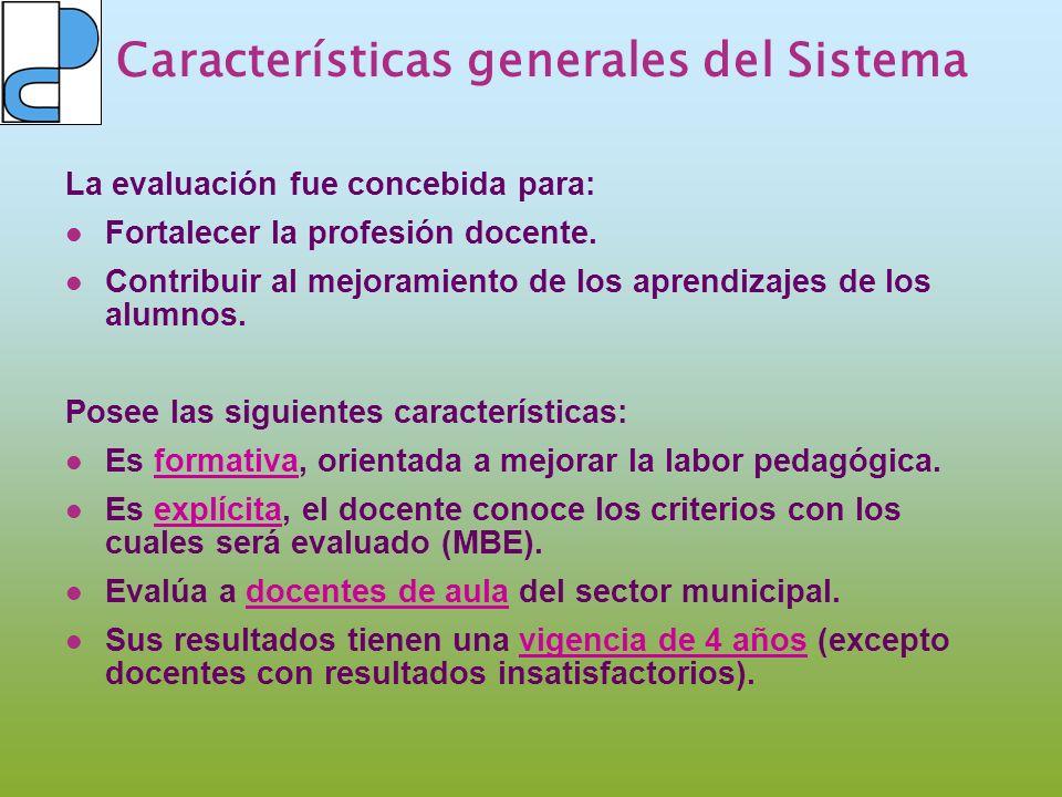 Características generales del Sistema La evaluación fue concebida para: Fortalecer la profesión docente. Contribuir al mejoramiento de los aprendizaje