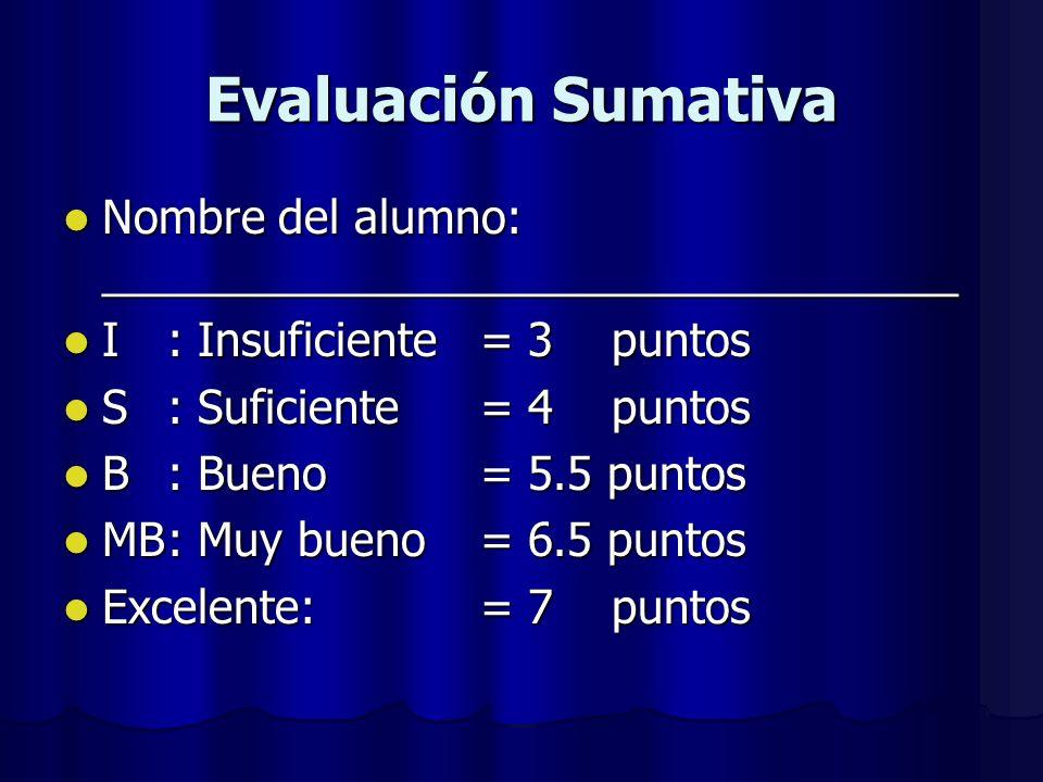 Evaluación Sumativa Nombre del alumno: __________________________________ Nombre del alumno: __________________________________ I: Insuficiente = 3 puntos I: Insuficiente = 3 puntos S: Suficiente = 4 puntos S: Suficiente = 4 puntos B: Bueno= 5.5 puntos B: Bueno= 5.5 puntos MB: Muy bueno= 6.5 puntos MB: Muy bueno= 6.5 puntos Excelente:= 7 puntos Excelente:= 7 puntos