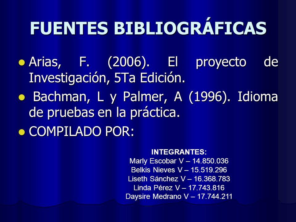 FUENTES BIBLIOGRÁFICAS Arias, F. (2006). El proyecto de Investigación, 5Ta Edición. Arias, F. (2006). El proyecto de Investigación, 5Ta Edición. Bachm