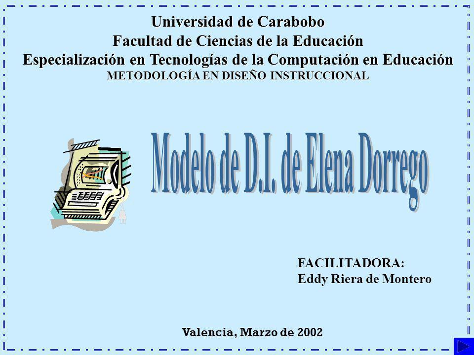 Universidad de Carabobo Facultad de Ciencias de la Educación Especialización en Tecnologías de la Computación en Educación METODOLOGÍA EN DISEÑO INSTR