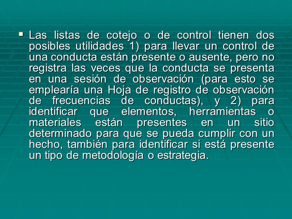 Las listas de cotejo o de control tienen dos posibles utilidades 1) para llevar un control de una conducta están presente o ausente, pero no registra