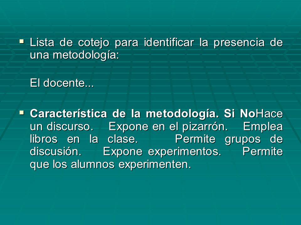 Lista de cotejo para identificar la presencia de una metodología: Lista de cotejo para identificar la presencia de una metodología: El docente... Cara